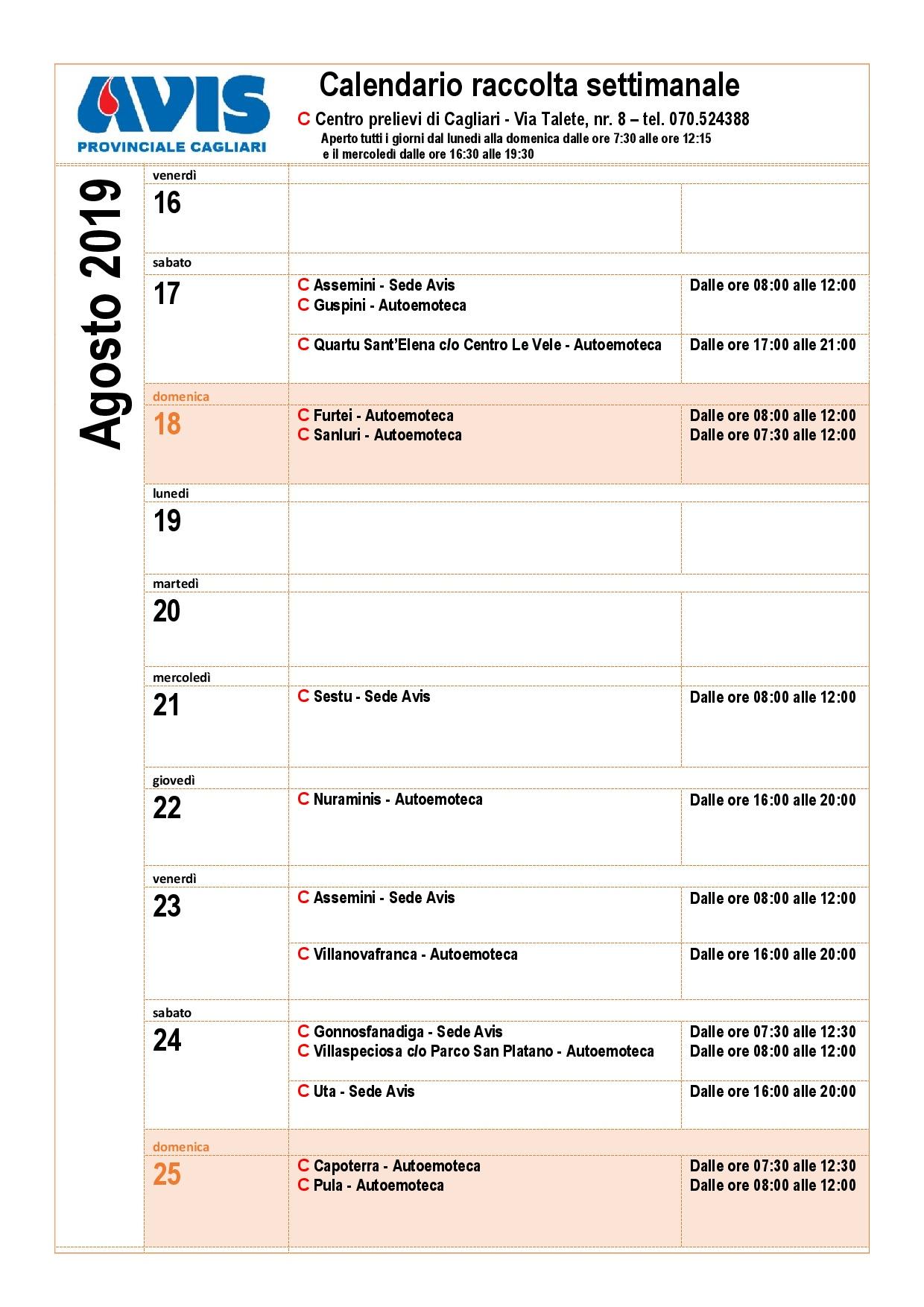 Calendario Avis.Calendario Prelievi Avis Provinciale Cagliari